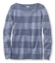 Cotton Basket-Weave Sweater, Boatneck Pullover Stripe