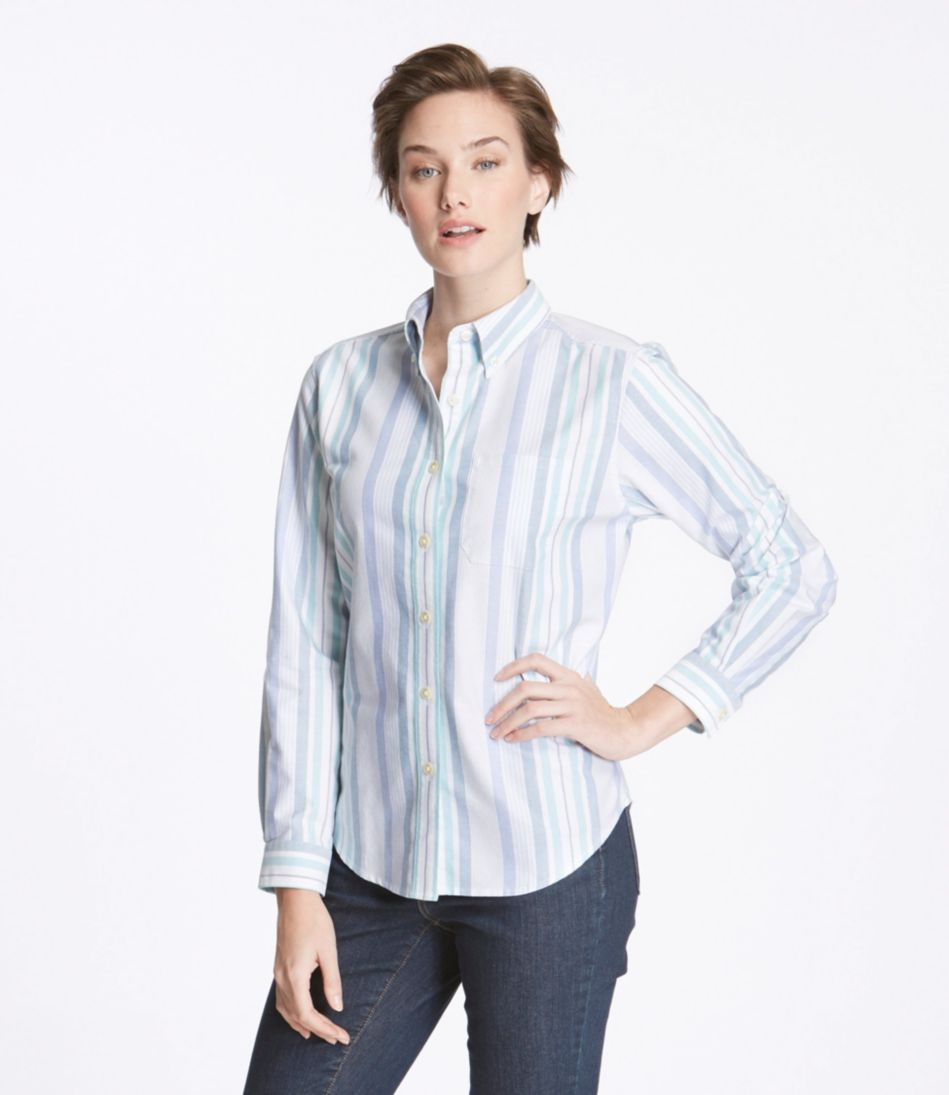 Easy-Care Washed Oxford Shirt, Original Fit Long-Sleeve Multistripe
