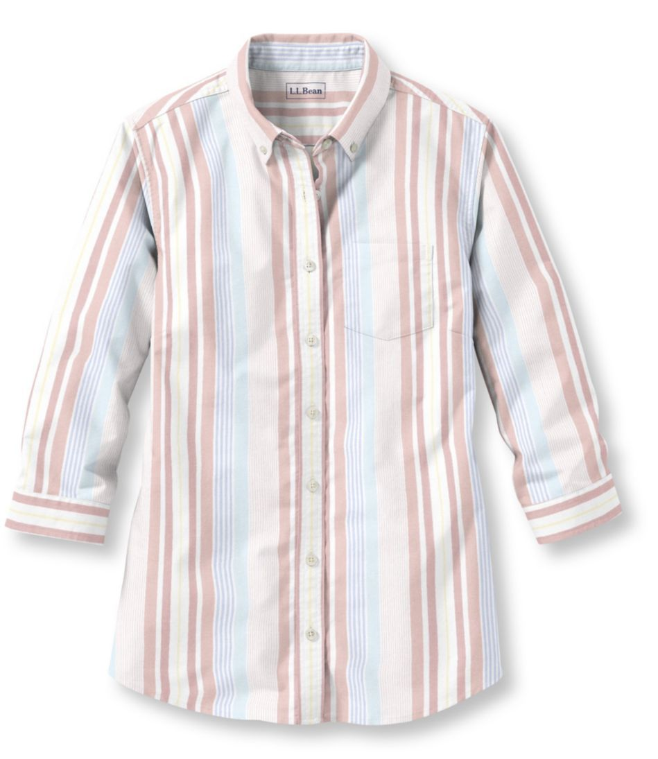 Easy-Care Washed Oxford Tops, Three-Quarter-Sleeve Multistripe
