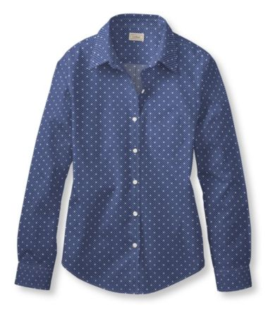Wrinkle-Free Pinpoint Oxford Shirt, Long-Sleeve Dot