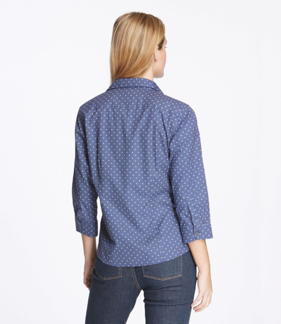 Women's Wrinkle-Free Pinpoint Oxford Shirt, Three-Quarter Sleeve Slightly Fitted Dot