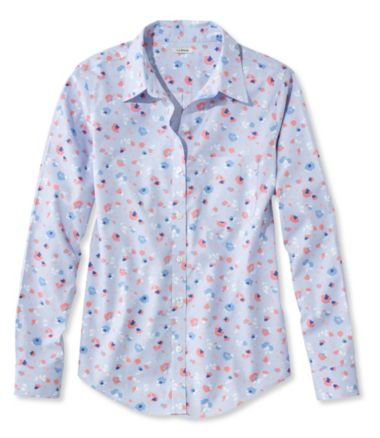 Wrinkle-Free Pinpoint Oxford Shirt, Long-Sleeve Floral