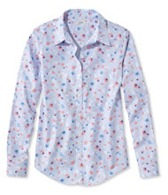 Wrinkle-Free Pinpoint Oxford Shirt, Long-Sleeve Relaxed Fit Floral