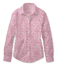 Women's Wrinkle-Free Pinpoint Oxford Shirt, Long-Sleeve Floral