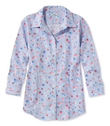 Women's Wrinkle-Free Pinpoint Oxford Shirt, Three-Quarter Sleeve Slightly Fitted Floral