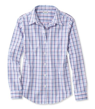 Wrinkle-Free Pinpoint Oxford Shirt, Relaxed Fit Long-Sleeve Gingham