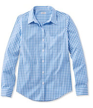 Women's Wrinkle-Free Pinpoint Oxford Shirt, Long-Sleeve Relaxed Fit Gingham