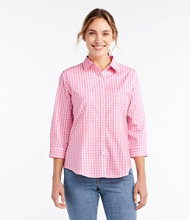 Wrinkle-Free Pinpoint Oxford Shirt, Three-Quarter Sleeve Slightly Fitted Gingham