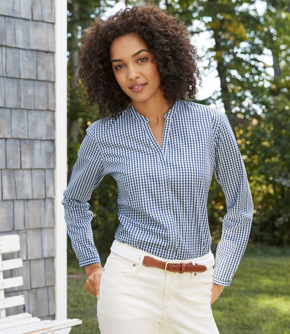 Wrinkle-Free Pinpoint Oxford Shirt, Long-Sleeve Splitneck Slightly Fitted Gingham