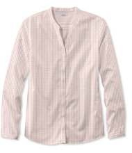 Women's Wrinkle-Free Pinpoint Oxford Shirt, Long-Sleeve Splitneck Slightly Fitted Gingham