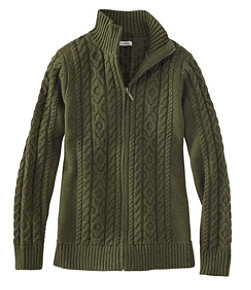 Women's Double L Mixed-Cable Sweater, Zip-Front Cardigan