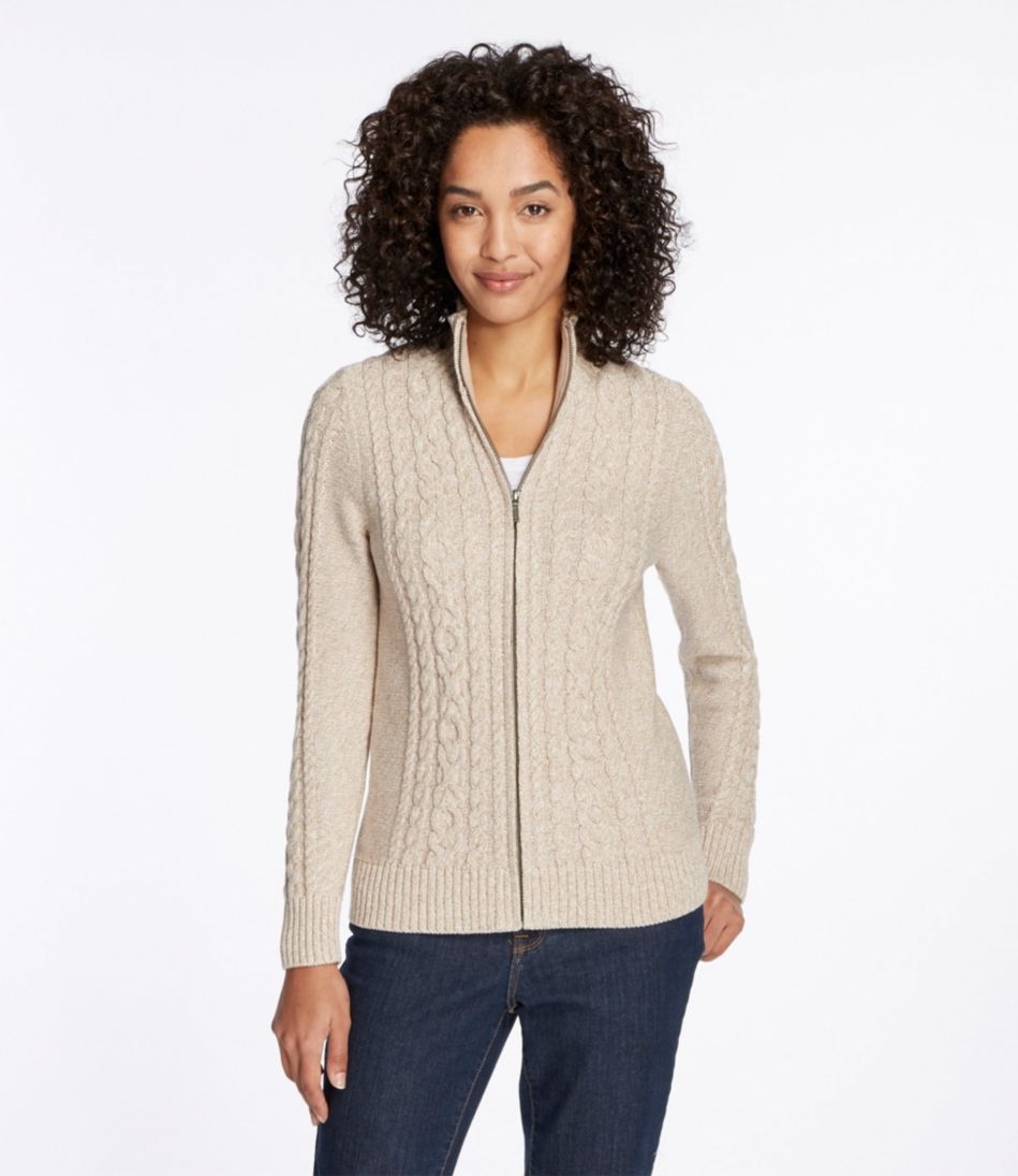 Double L® Mixed-Cable Sweater, Zip-Front Cardigan Marled