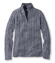 Double L Mixed-Cable Sweater, Zip-Front Cardigan Marled