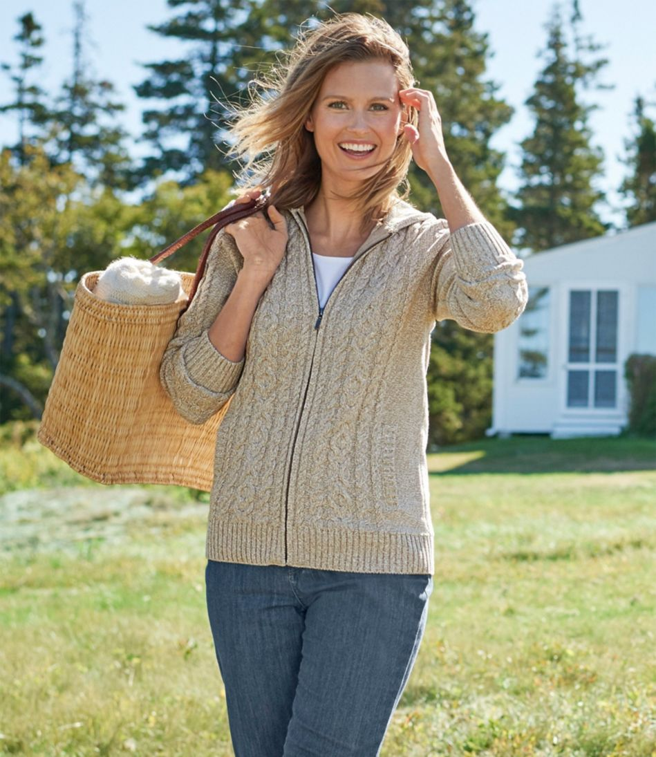 Double L® Mixed-Cable Sweater, Zip-Front Hoodie Marled