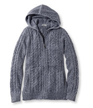 Double L Mixed-Cable Sweater, Zip-Front Hoodie Marled