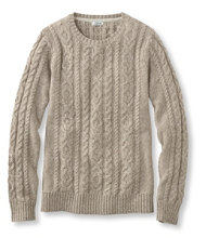 Double L Mixed-Cable Sweater, Crewneck Marled