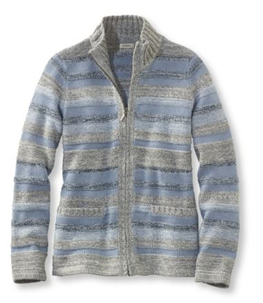 Marled Cotton Sweater, Zip-Front Cardigan Multistripe