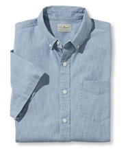 Lakewashed Chambray Shirt, Single Pocket Short-Sleeve
