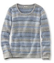 Marled Cotton Sweater, Ottoman-Stitch Pullover Multistripe