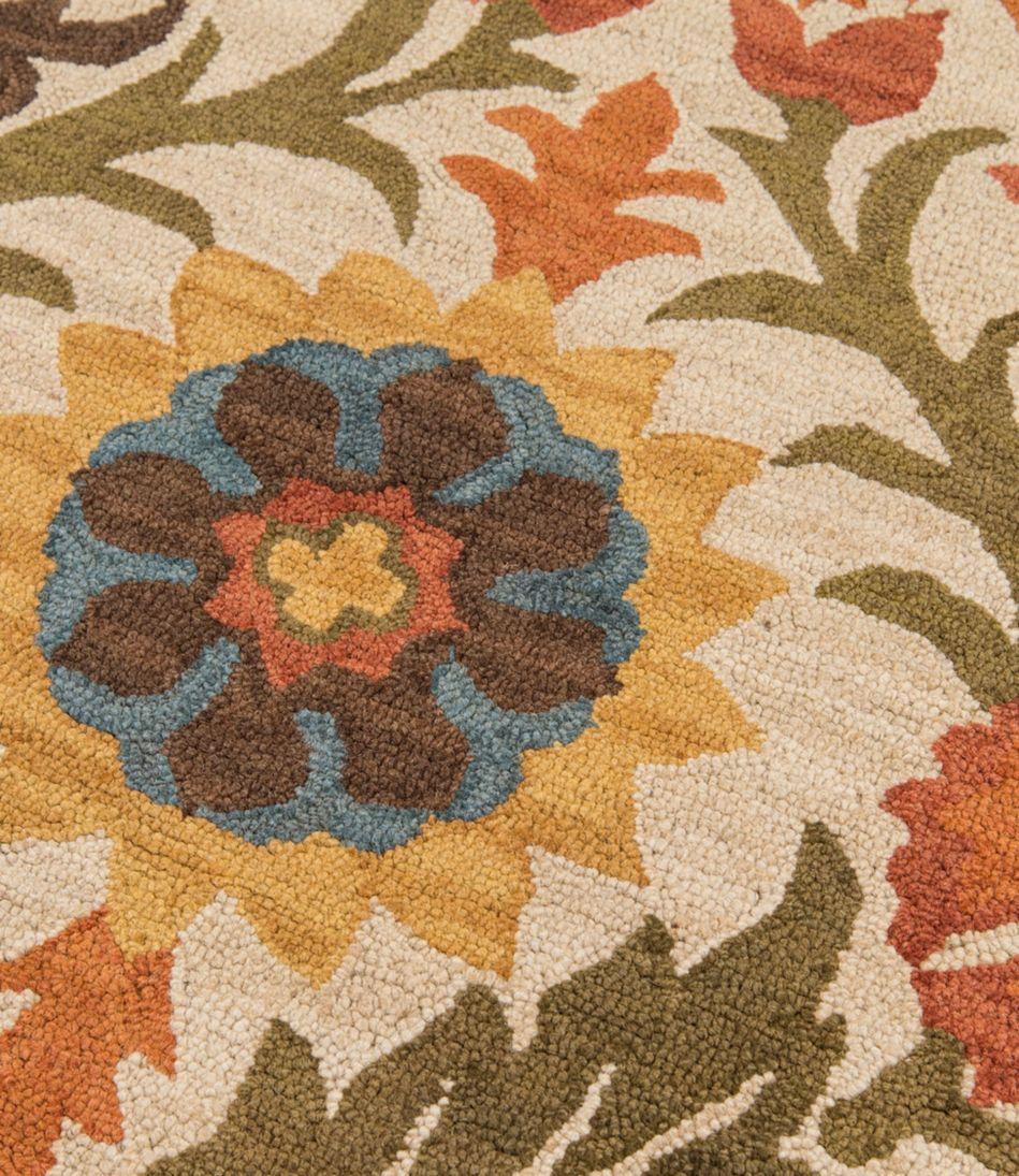 Wool Hooked Rug, Botanical Floral