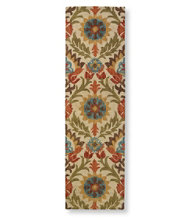 Wool Hooked Runner, Botanical Floral