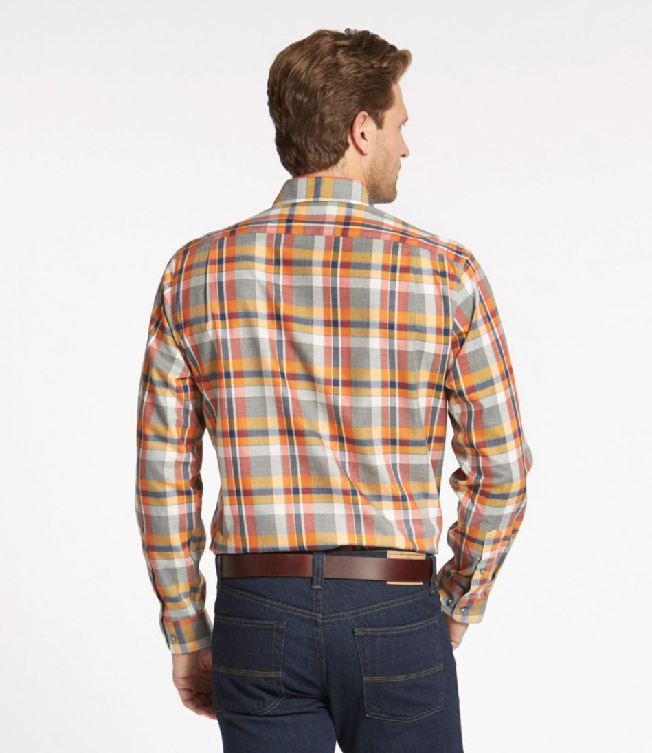 Wrinkle-Free Heathered Sport Shirt, Plaid