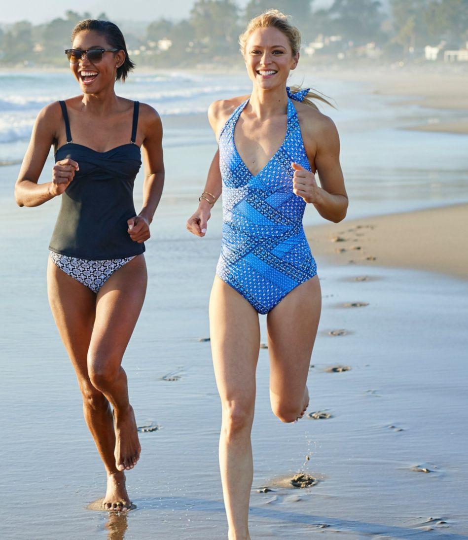 L.L.Bean Mix-and-Match Swimwear, Halter Tanksuit Print