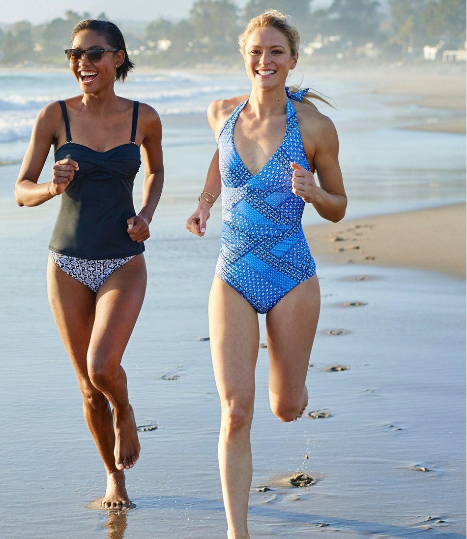 Women's L.L.Bean Mix-and-Match Swimwear, Halter Tanksuit Print