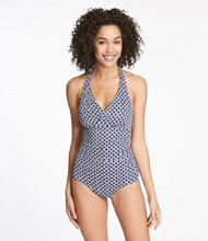 L.L.Bean Mix-and-Match Swimwear, Halter Tanksuit Print