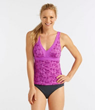L.L.Bean Active Swim Collection, V-Neck Tankini Print