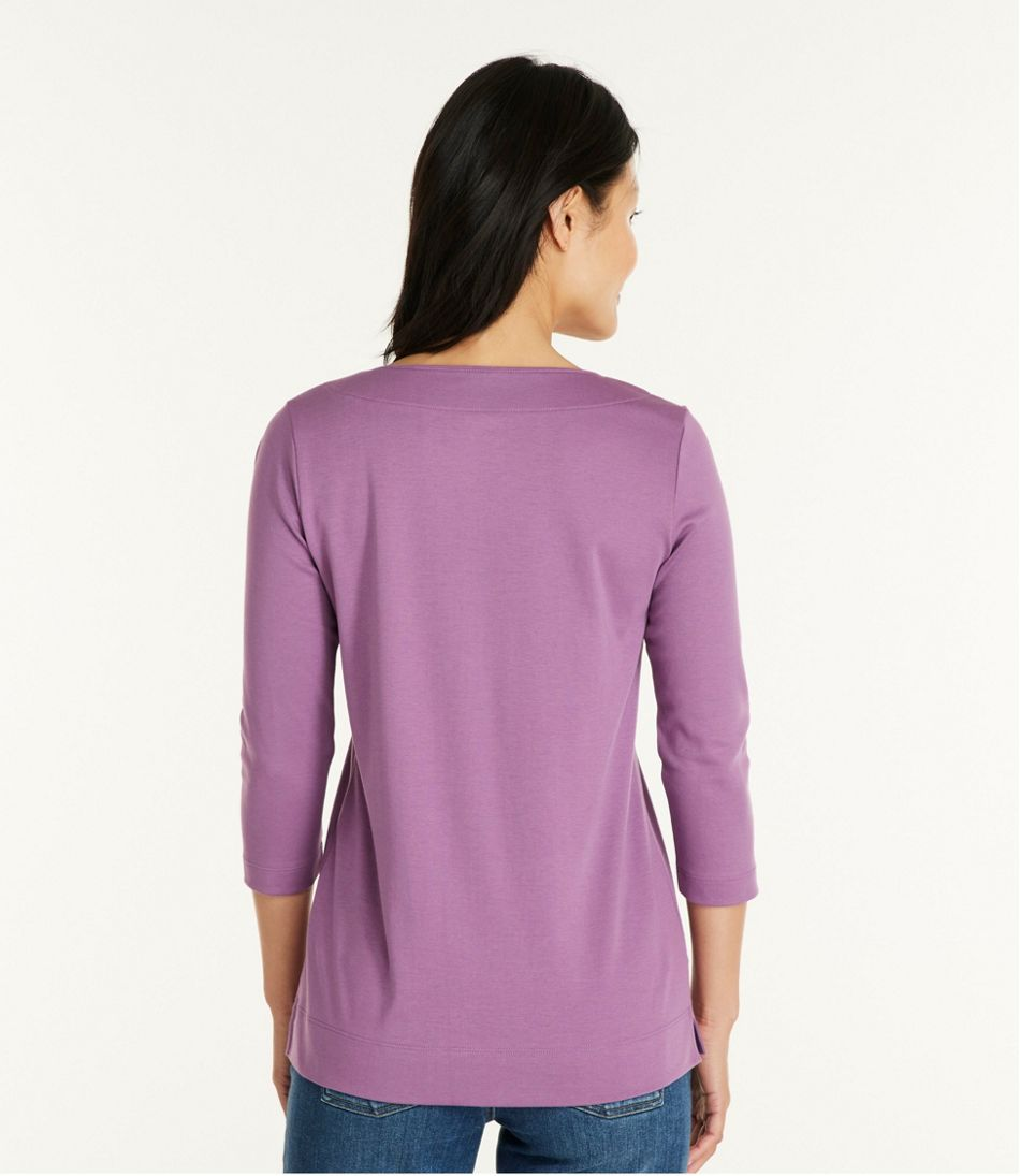 Women's Pima Cotton Tunic, Three-Quarter-Sleeve Splitneck