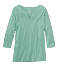 Pima Cotton Tunic, Three-Quarter-Sleeve Splitneck