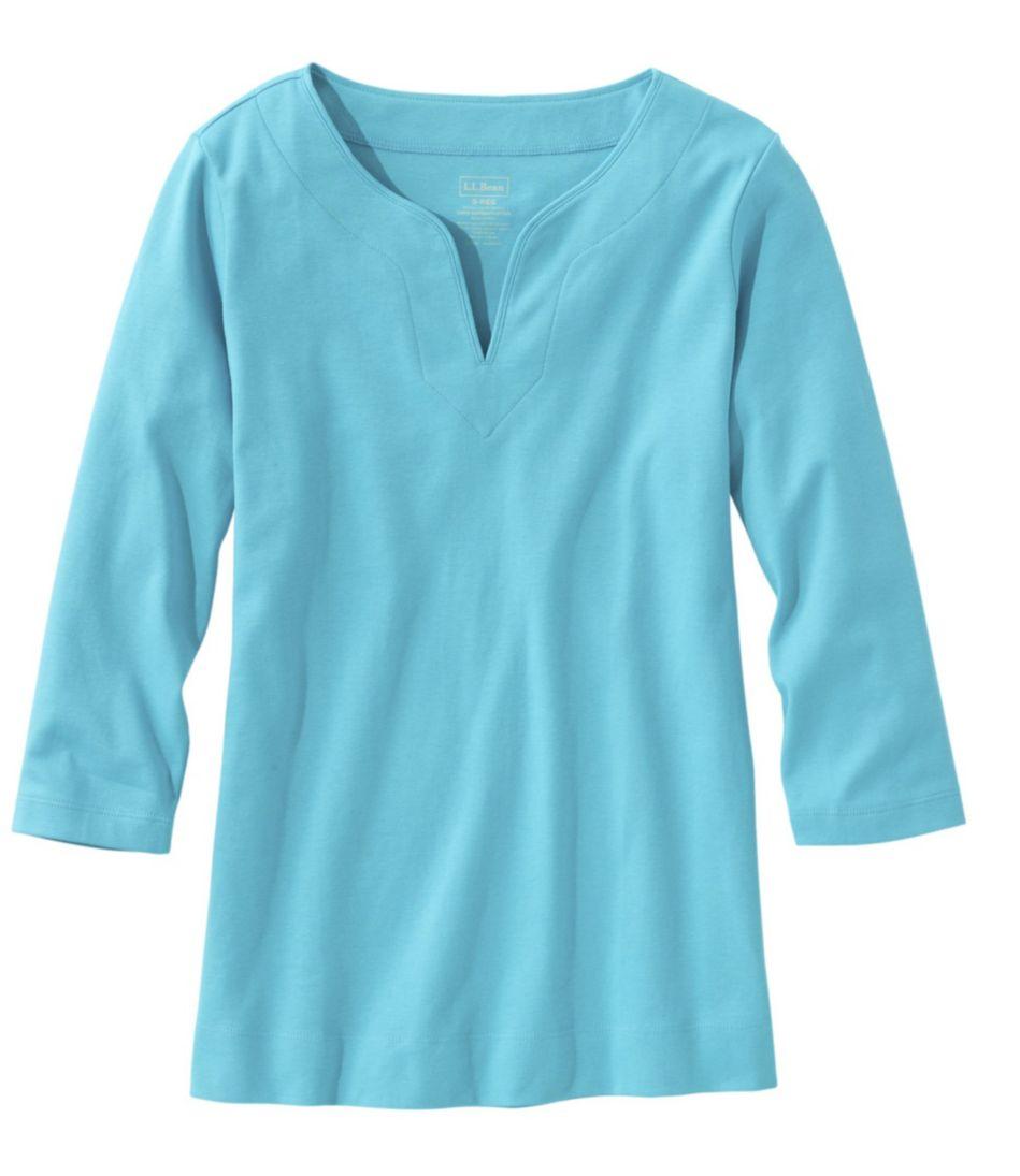 Pima Cotton Tunic, Three-Quarter-Sleeve Splitneck