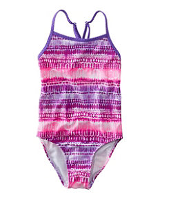 Girls' Wave Jumper Swimsuit, One-Piece Print