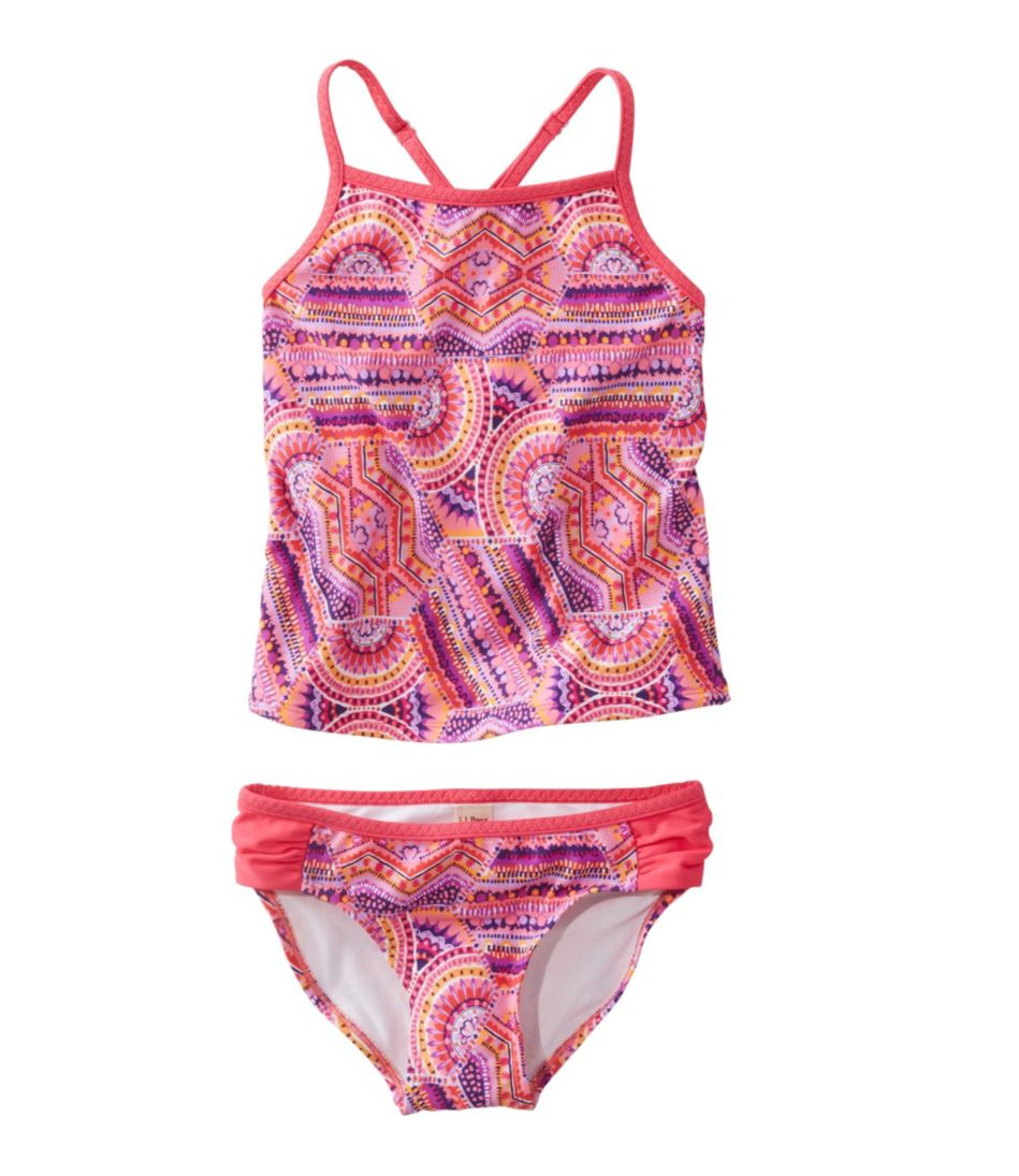 Girls' Wave Jumper Swimsuit, Two-Piece Print