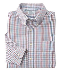 Men's Wrinkle-Free Pinpoint Oxford Shirt, Slightly Fitted Tattersall