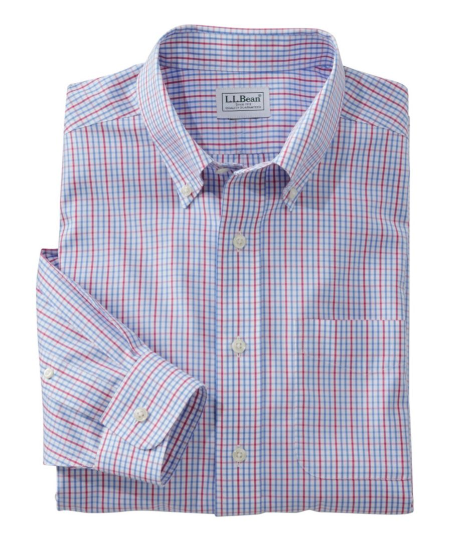 Men S Wrinkle Free Pinpoint Oxford Shirt Long Sleeve Slim Fit Tattersall