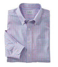 Wrinkle-Free Pinpoint Oxford Shirt, Long-Sleeve Slim Fit Tattersall