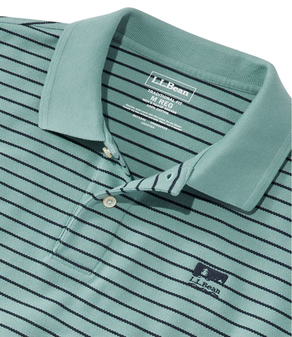 Men's Premium Double L® Polo, Banded Short-Sleeve Without Pocket Stripe