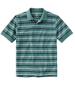 Men's Premium Double L Polo, Banded Short-Sleeve Without Pocket Stripe