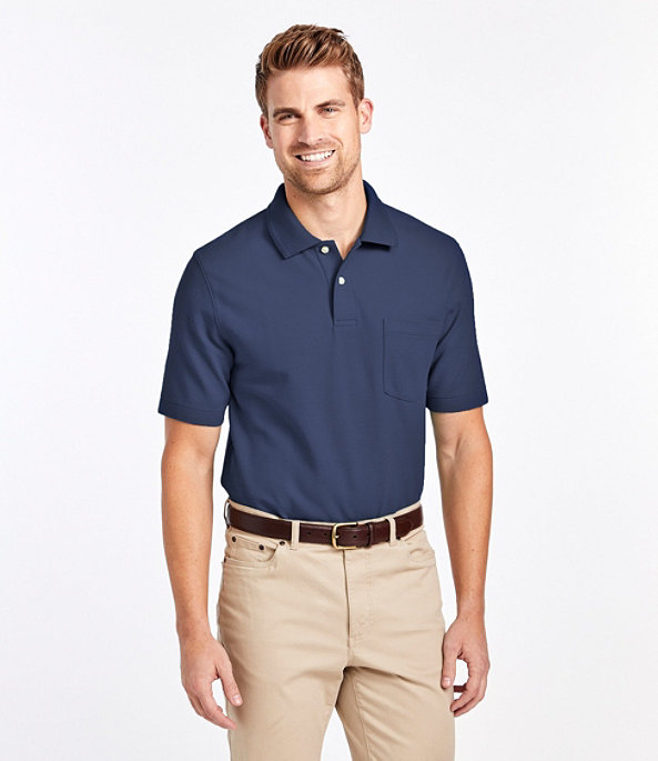 Men's Premium Double L Hemmed-Sleeve Polo with Pocket, Rust Orange, large image number 1