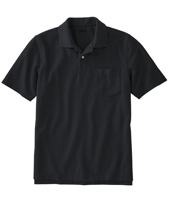Men's Premium Double L Hemmed-Sleeve Polo with Pocket, Black, large image number 0