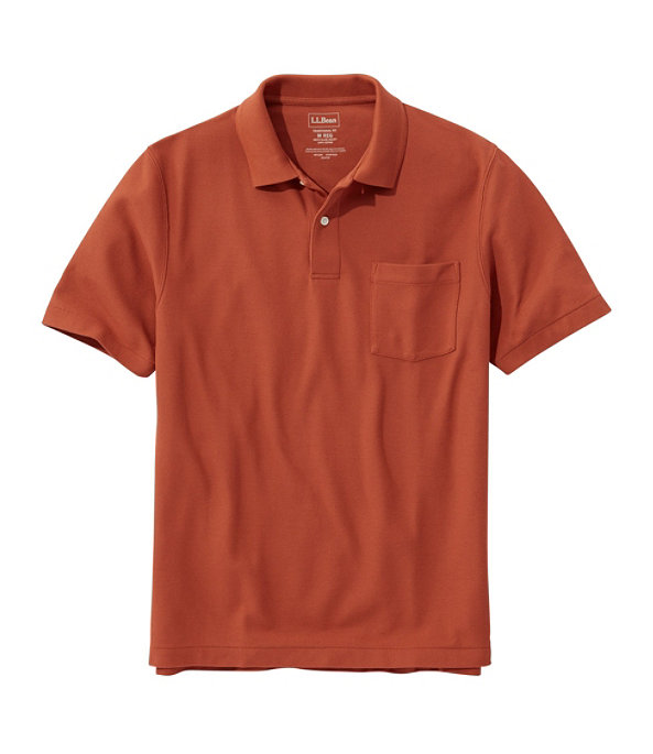 Men's Premium Double L Hemmed-Sleeve Polo with Pocket, Rust Orange, large image number 0