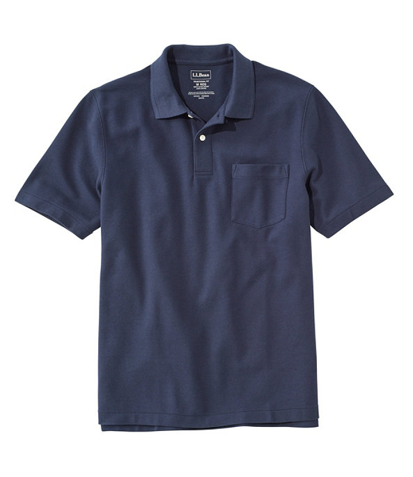 Men's Premium Double L Hemmed-Sleeve Polo with Pocket, Classic Navy, large image number 0