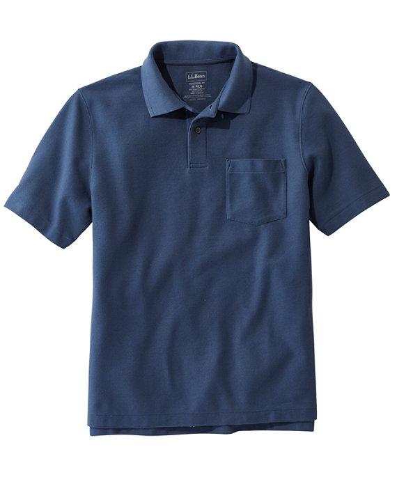 Men's Premium Double L Hemmed-Sleeve Polo with Pocket, Vintage Indigo, large image number 0