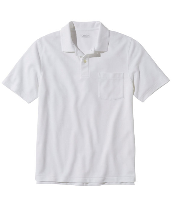 Men's Premium Double L Hemmed-Sleeve Polo with Pocket, White, large image number 0
