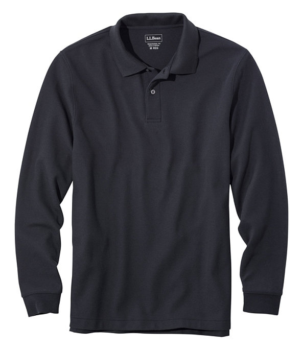 Premium Long-Sleeve Double L Polo, Black, large image number 0