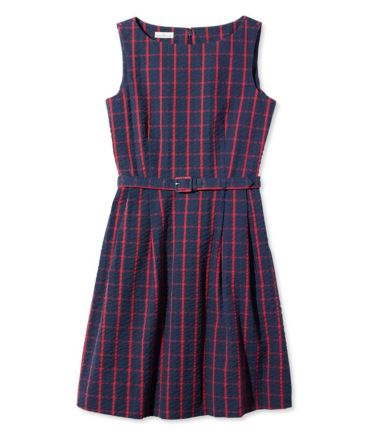 Signature Seersucker Sleeveless Dress, Windowpane