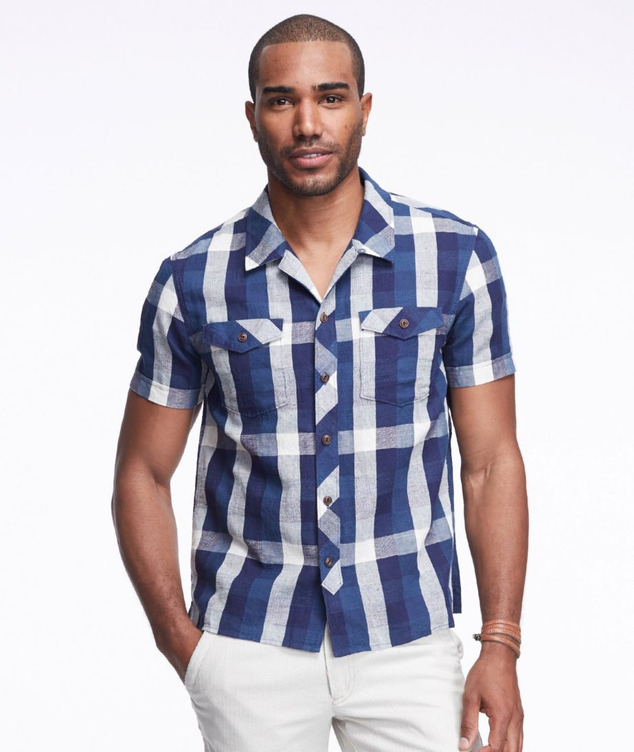 Signature Cotton/Linen Camp Shirt, Buffalo Check