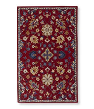 Floral Wool Tufted Rug, Red